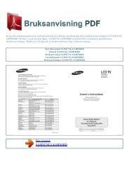 Instruktionsbok SAMSUNG LE40F86BD - BRUKSANVISNING PDF
