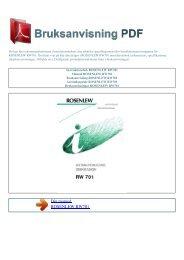 Instruktionsbok ROSENLEW RW701 - BRUKSANVISNING PDF