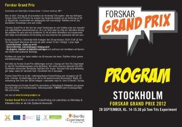 Broschyr Forskar Grand Prix - Karolinska Institutet
