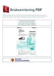 Instruktionsbok PANASONIC CSE9DKEW - BRUKSANVISNING PDF