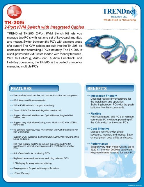 2-Port KVM Switch with Integrated Cables - Downloads - TRENDnet