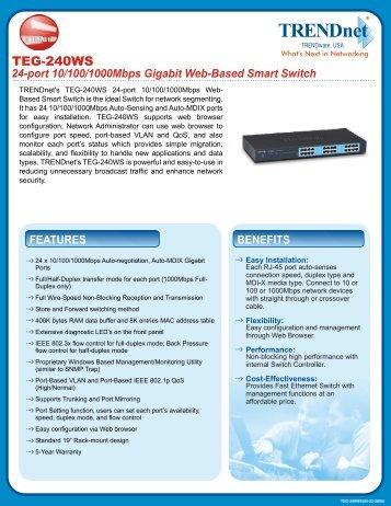 24-port 10/100/1000Mbps Gigabit Web-Based Smart Switch
