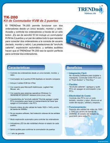 Kit de Conmutador KVM de 2 puertos Especificaciones - TRENDnet