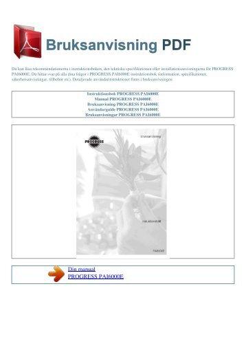 Instruktionsbok PROGRESS PAI6000E - BRUKSANVISNING PDF