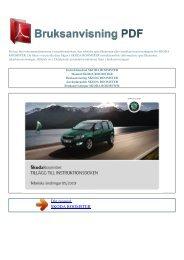Instruktionsbok SKODA ROOMSTER - BRUKSANVISNING PDF