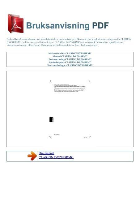 Instruktionsbok CLARION DXZ848RMC - BRUKSANVISNING PDF