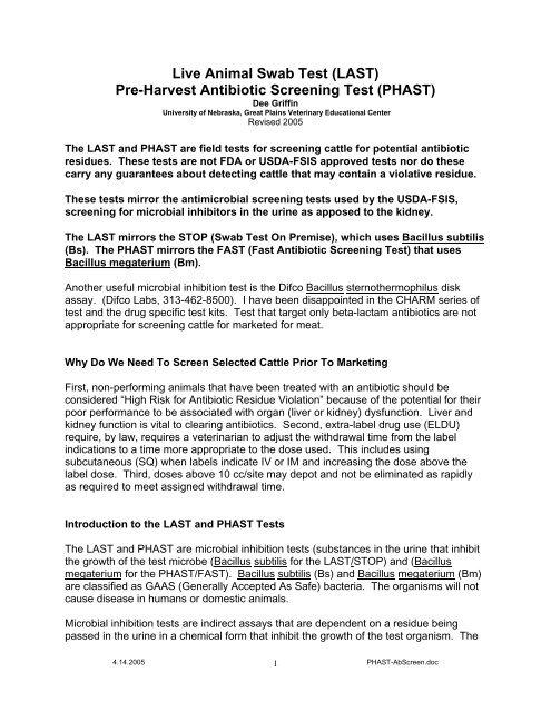 Live Animal Swab Test (LAST) Pre-Harvest Antibiotic     - gpvec