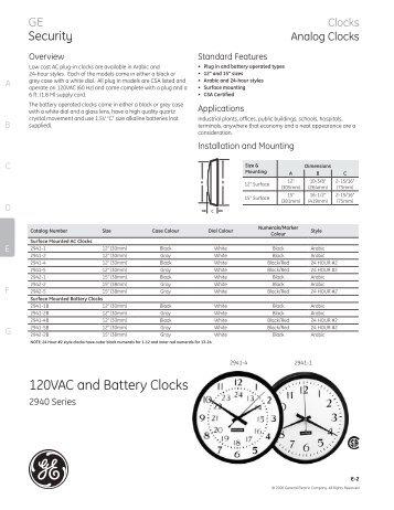 Wall clock models batteries the clock depot 120vac and battery clocks 2940 series accessoriespdf publicscrutiny Gallery