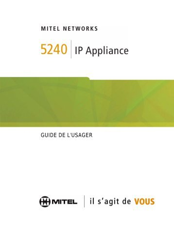 5240 IP Appliance Guide de l'usager - Mitel Edocs