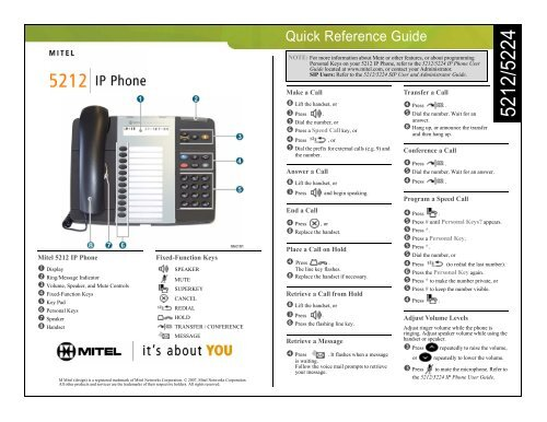 5212 5224 Quick Reference Guide Mitel Edocs
