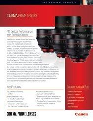CINEMA PRIME LENSES - Canon USA, Inc.