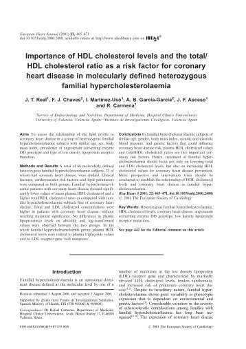Importance of HDL cholesterol levels and the total/HDL cholesterol ...