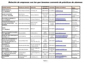 convenios empresas septiembre 12 - Facultad de Bellas Artes