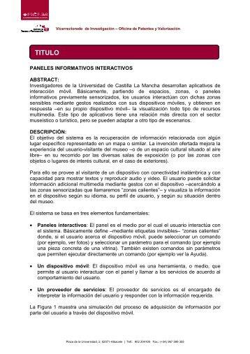 Oferta Tecnológica de Paneles Interactivos - INDEVOL ...
