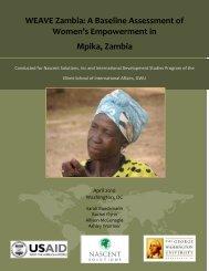 A Baseline Assessment of Women's Empowerment in Mpika, Zambia