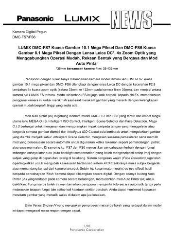 LUMIX DMC-FS7 Kuasa Gambar 10.1 Mega Piksel Dan DMC-FS6 ...