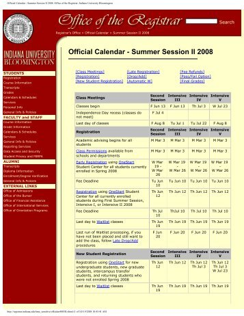 Official Calendar - Summer Session II 2008 ... - Indiana University