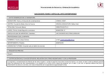 Guia Docente modelo - Facultad de Bellas Artes