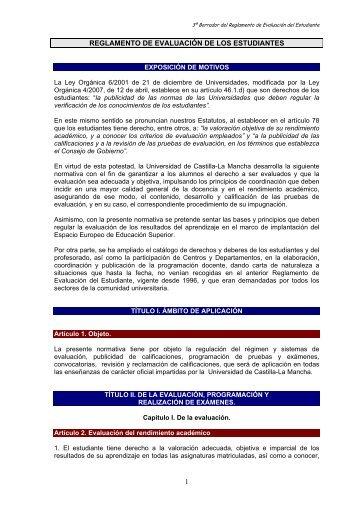 1 reglamento de evaluación de los estudiantes - Facultad de Bellas ...