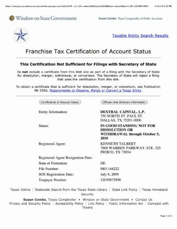 Texas Franchise Tax Certificate Of Account Status - Best Design ...