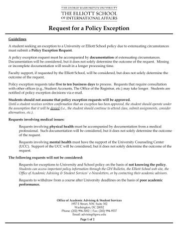 Request for a Policy Exception