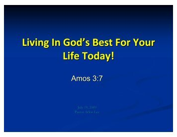 Living In God's Best For Your Life Today!