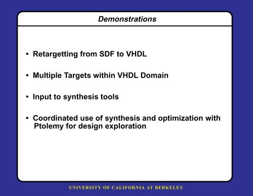 VHDL Code Generation for Simulation and Synthesis