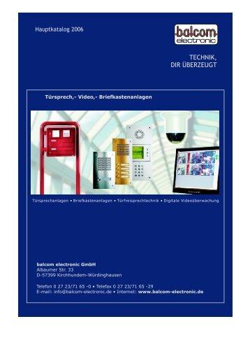 Gesamtkatalog balcom electronic GmbH - Architect24.eu