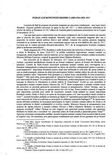 Publicaţii româneşti despre campania din 1917 - 1 Decembrie 1918