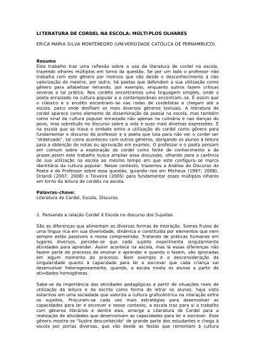 LITERATURA DE CORDEL NA ESCOLA: MÚLTIPLOS OLHARES ...