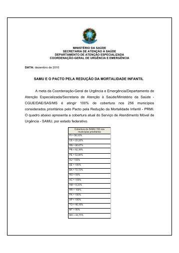 SAMU E O PACTO PELA REDUÇÃO DA MORTALIDADE INFANTIL ...