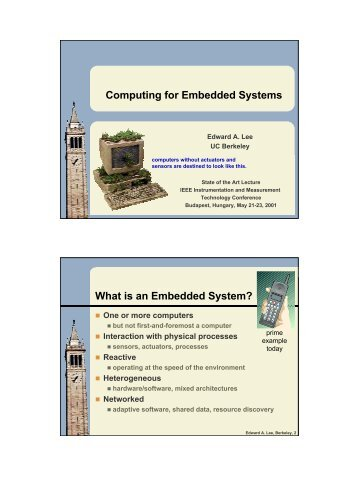 Computing for Embedded Systems What is an ... - Ptolemy Project