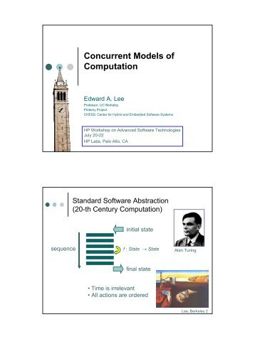 Concurrent Models of Computation - Ptolemy Project