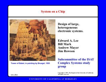 Report on Systems on a Chip Scenario (Edward Lee)