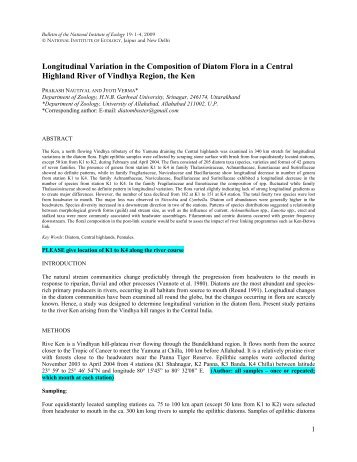 Longitudinal Variation in the Composition of Diatom ... - GANGAPEDIA