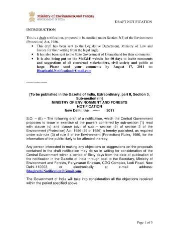 draft notification of Eco sen zone - GANGAPEDIA