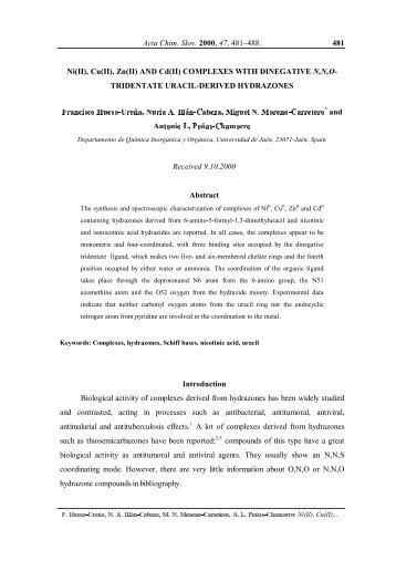 Ni (II), Cu (II), Zn (II) AND Cd (II) COMPLEXES WITH DINEGATIVE N ...