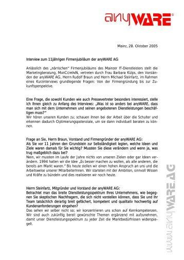 Mainz, 28. Oktober 2005 Interview zum 11jährigen Firmenjubiläum der