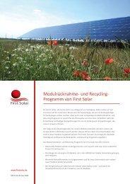 First Solar Recyclingprozess - Social Media Release