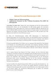 Hankook Tire erzielt Rekordumsatz in 2009 - Social Media Release