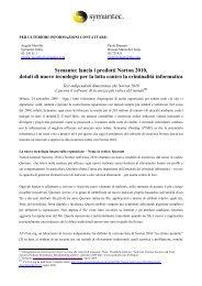 comunicato Norton 2010 - Social Media Release