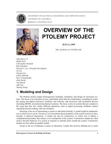 1. Modeling and Design - Ptolemy Project - University of California ...