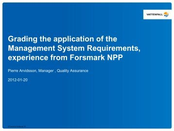 Grading the application of the Management System Requirements ...