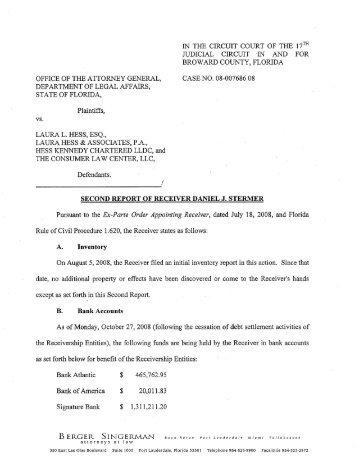 CASE NO. 08-007686 08 Plaintiffs, LAURA L. HESS, ESQ., Bank of ...