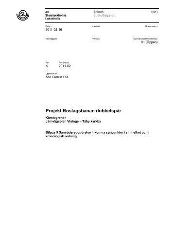 Bilaga 5. Samrådsredogörelse med synpunkter. Pdf (3 Mb) - SL