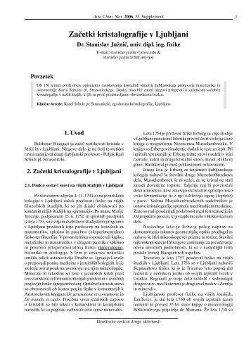 Začetki kristalografije v Ljubljani (SLO)