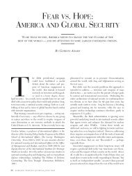 Fear Vs. Hope: America and Global Security