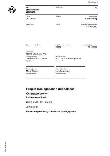 Bilaga 6 Förteckning över andra berörda av järnvägsplanen Pdf ... - SL