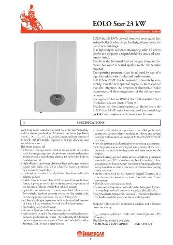 Eolo mini kw special immergas for Caldaia immergas eolo star 23 kw