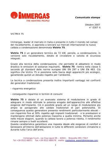 Comunicato stampa Ottobre 2007 n° 0307 it VICTRIX 75 Immergas ...
